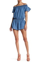 Poof Off The Shoulder Chambray Romper Blue