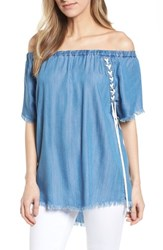 Billy T Lace Up Side Off The Shoulder Top Blue