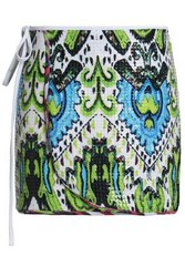 Just Cavalli Sequined Printed Stretch Jersey Wrap Skirt Lime Green