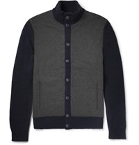Hackett Felt Panelled Wool Cardigan Navy