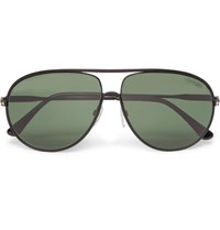 Tom Ford Cliff Aviator Style Metal Polarised Sunglasses Black