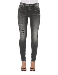 Driftwood Faded Embroidered Jeans Dark Grey