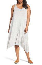 Sejour Plus Size Women's Jersey Sharkbite Hem Tank Dress Grey Heather