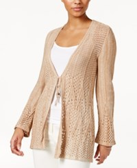 Style And Co Petite Tie Front Crochet Cardigan Only At Macy's Chipmunk
