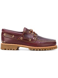 Timberland Logo Stamp Boat Shoes Brown