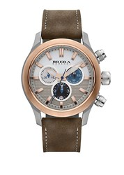 Brera Orologi Eterno Chrono Two Tone Stainless Steel And Leather Chronograph Strap Watch Tan Gold