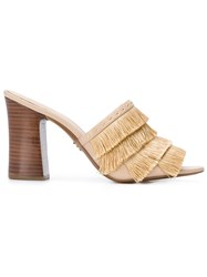 Michael Michael Kors Gallagher Fringed Mules Nude And Neutrals