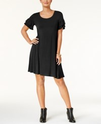 Style And Co Ruffle Sleeve Dress Created For Macy's Deep Black