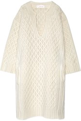 Chloe Oversized Cable Knit Wool Sweater Dress Cream