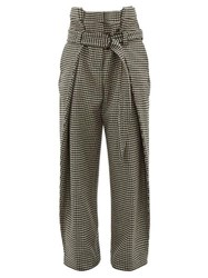 Hillier Bartley Tailored Houndstooth Wool Trousers Black Cream
