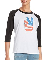 Design Lab Lord And Taylor Peace Baseball Tee White