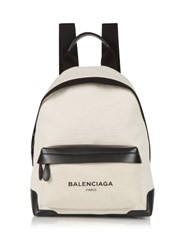 Balenciaga Navy Canvas And Leather Backpack Black Beige
