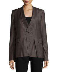 Halston Heritage Long Sleeve Slim Fit Blazer Heathered Earth
