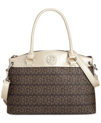 Giani Bernini Block Signature Pop Small Round Satchel Only At Macy's Brown Gold
