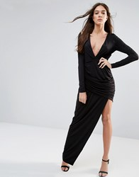 Hedonia Long Sleeve Maxi Dress With Cut Out Detail Black