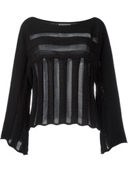 Lost And Found Rooms Open Knit Detail Sweater Black