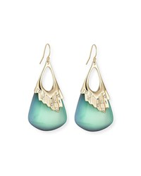 Alexis Bittar Pleated Green Lucite Drop Earrings