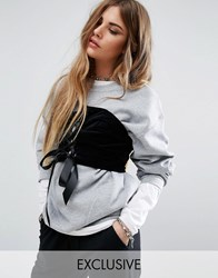 Reclaimed Vintage Oversized Sweatshirt With Corset Detail Grey Marl