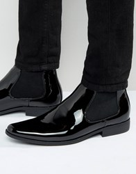 Asos Chelsea Boots In Black Patent Black