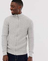 Selected Homme Organic Cotton Knitted Zip Through In Grey
