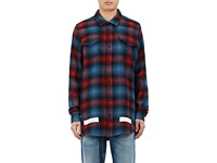 Off White Men's Ombre Checked Wool Cotton Shirt Red Blue