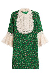 Anna Sui Printed Silk Dress With Lace Green