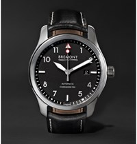 Bremont Solo Pb 43Mm Stainless Steel And Leather Automatic Watch Black