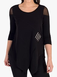 Chesca Mesh Shoulder Jersey Top Black