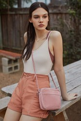 Urban Outfitters June Suede Crossbody Bag Peach