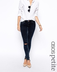 Asos Petite Whitby Low Rise Skinny Jeans In Alaska Wash With Ripped Knee Blueblack