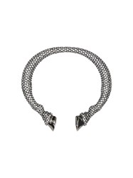 Burberry Crystal Ruthenium Plated Hoof Cuff Silver