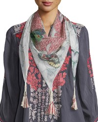 Butterfly Silk Printed Scarf Multi Johnny Was Collection