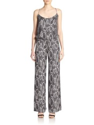 Haute Hippie Printed Silk Wide Leg Jumpsuit Black Swan
