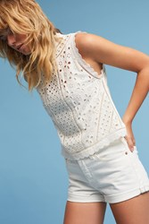Anthropologie Eyelet Mock Neck Shell White
