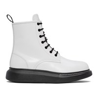 Alexander Mcqueen White Leather Lace Up Boots