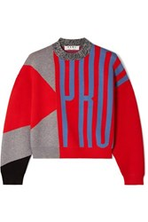 Proenza Schouler Pswl Cropped Color Block Jacquard Knit Sweater Red