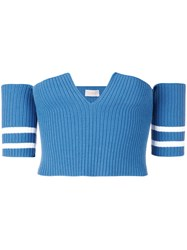 Mrz Knitted Cropped Top Blue