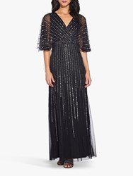 Adrianna Papell Sequin V Neck Dress Black Mercury