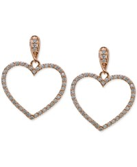 Giani Bernini Cubic Zirconia Pave Heart Drop Earrings In 18K Rose Gold Plated Sterling Silver Only At Macy's