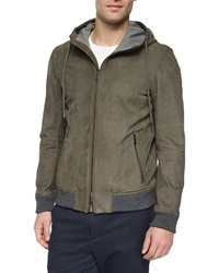 Vince Nubuck Leather Hooded Jacket Gray