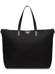 Prada Logo Plaque Tote Bag Black