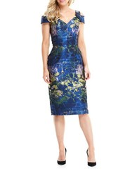 Maggy London Printed Cold Shoulder Sheath Dress Navy Green