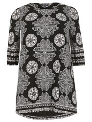 Samya Plus Size Monochrome Batik Print Tunic Dress Black