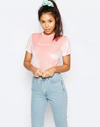 Lazy Oaf Shrunken Cropped Princess T Shirt In Velvet Pink