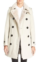 Women's Burberry London 'Colliersbrook' Genuine Rabbit Fur Trim Double Breasted Trench Coat