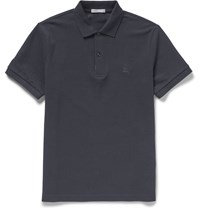 Burberry Slim Fit Cotton Pique Polo Shirt Blue