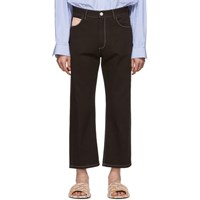 Marni Brown Contrast Stitching Jeans