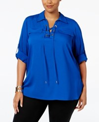Calvin Klein Plus Size Lace Up Utility Shirt Soft White