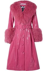 Saks Potts Foxy Neon Belted Shearling Trimmed Patent Leather Coat Bright Pink
