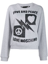 Love Moschino Sequinned Crewneck Sweatshirt Grey